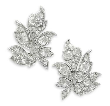 A Pair of Early 20th Century Diamond Leaf Ear Clips