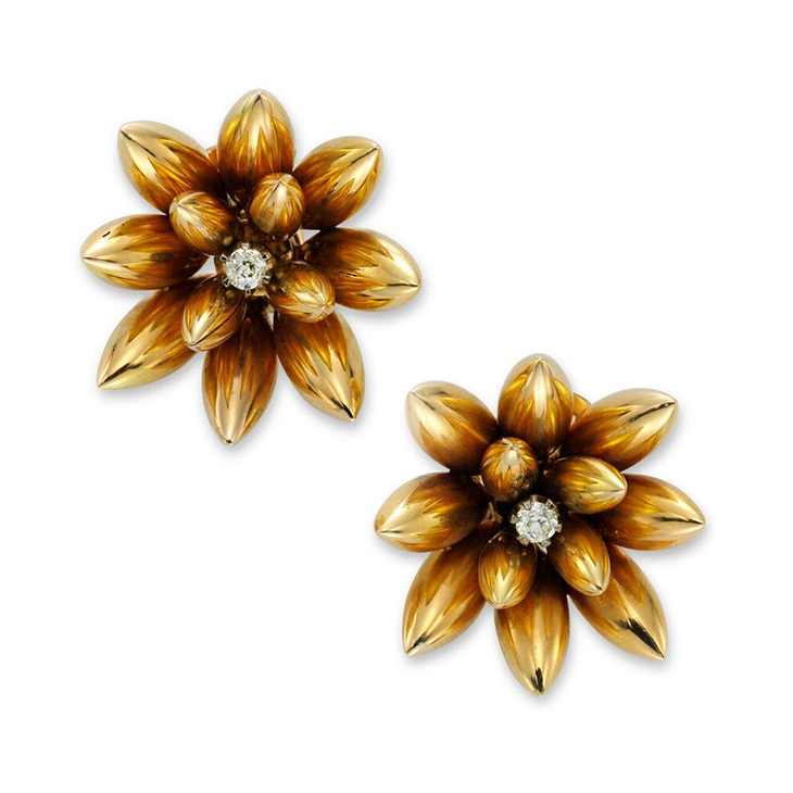 A Pair of Retro Gold and Diamond Flower Ear Clips, circa 1945