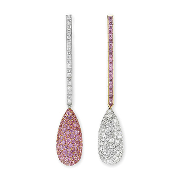 A Pair of Pink Sapphire and Diamond Ear Pendants, by Chopard