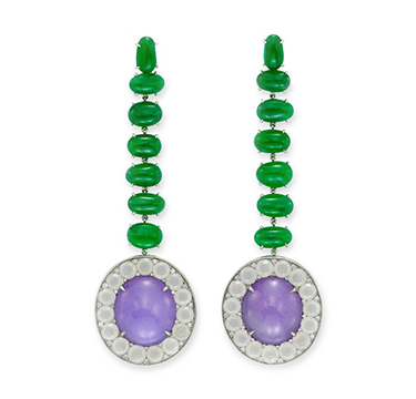 A Pair of Lavender and Green Jade and Diamond Ear Pendants, by SABBA