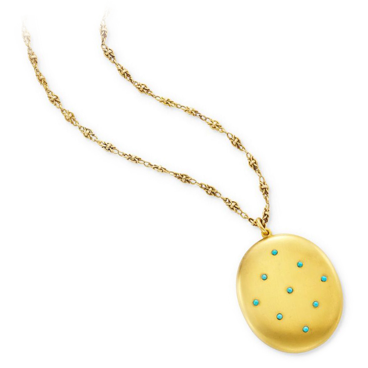 An Antique Gold and Turquoise Locket Pendant
