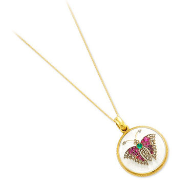 An Antique Multi-gem And Rock Crystal Butterfly Locket Pendant