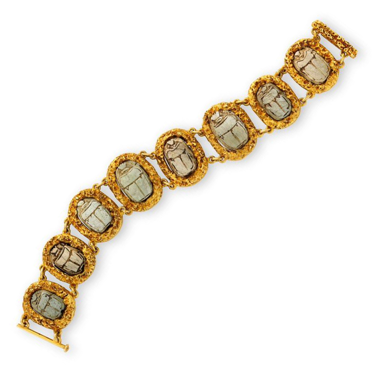 An Ancient Scarab and Gold Link Bracelet