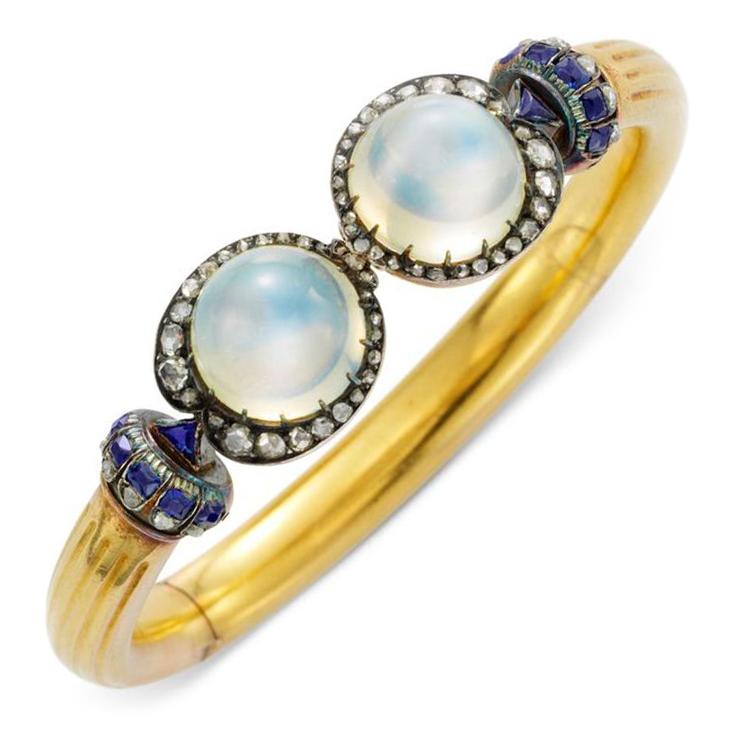 An Antique Moonstone, Sapphire and Diamond Cuff Bracelet, circa 1880
