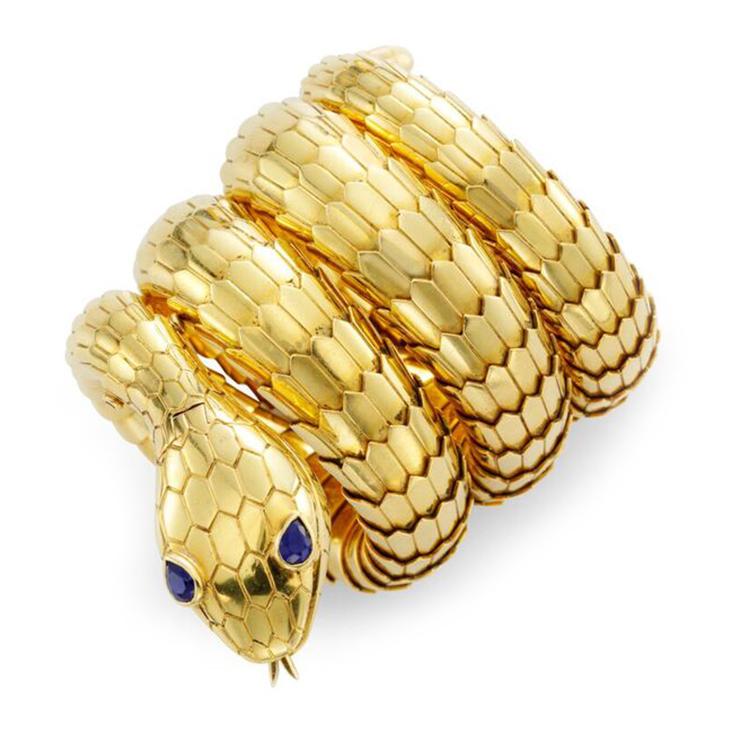 A Gold and Sapphire 'Serpenti' Bracelet Watch, by Bulgari, circa 1960