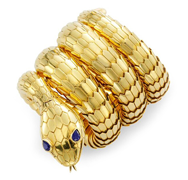 A Gold and Sapphire 'Serpenti' Bracelet Watch, by Bulgari, circa 1960