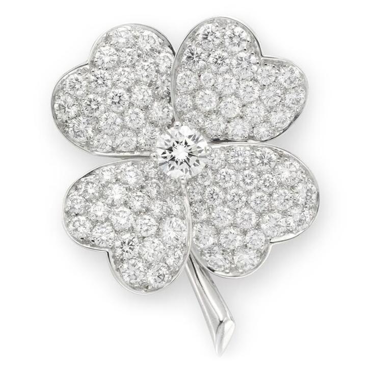 A Diamond and Platinum Clover Brooch, by Van Cleef & Arpels, circa 2005