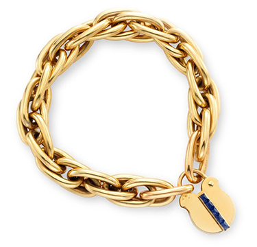 A Retro Sapphire and Gold Padlock Charm Bracelet, by Cartier, circa 1945