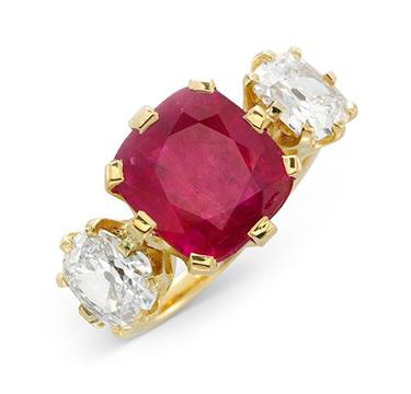 A Three Stone Ruby and Diamond Ring