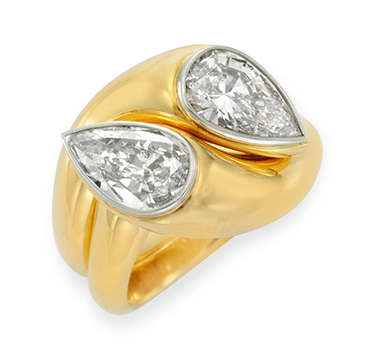 A Twin Stone Diamond and Gold Ring