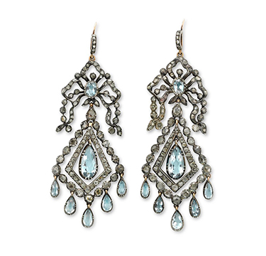 A Pair of Georgian Aquamarine and Diamond Ear Pendants, circa 1800