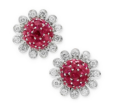 A Pair of Ruby and Diamond Flower Ear Clips, by Boucheron, circa 1945