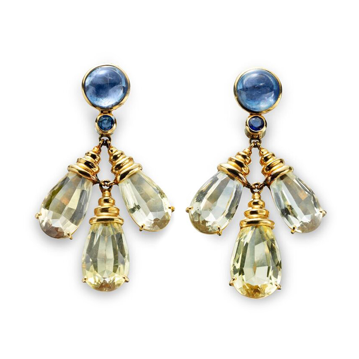 A Pair of Citrine and Sapphire Ear Pendants, by Boivin, circa 1936