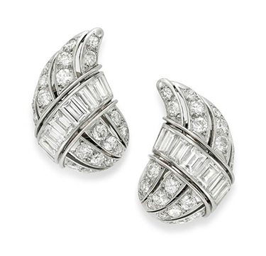 A Pair of Diamond Ear Clips, by Suzanne Belperron, circa 1945