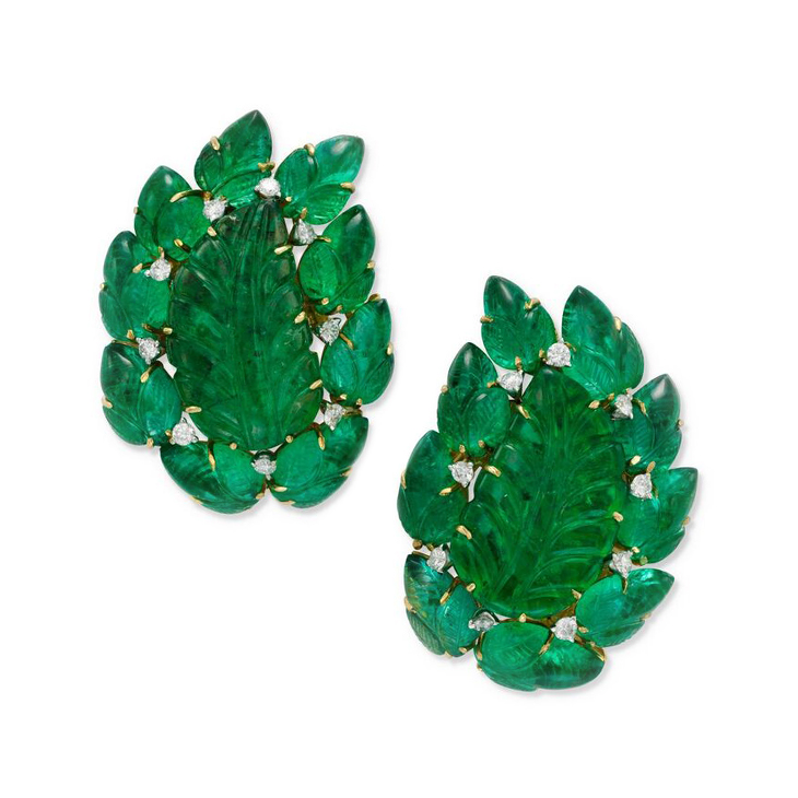 A Pair of Carved Emerald and Diamond Ear Clips, by Bulgari, circa 1955
