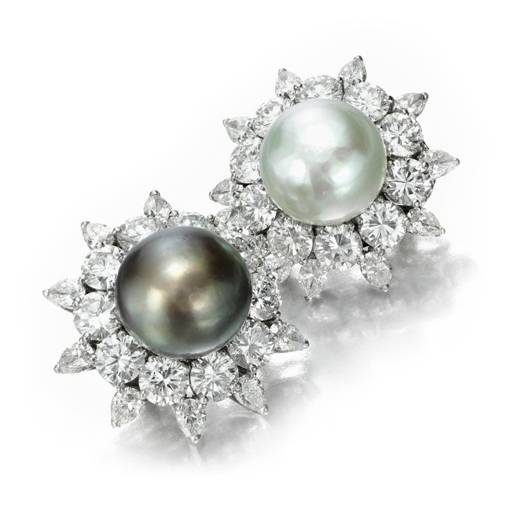 A Pair of Mismatched Natural Pearl and Diamond Cluster Ear Clips, by Bulgari, circa 1950