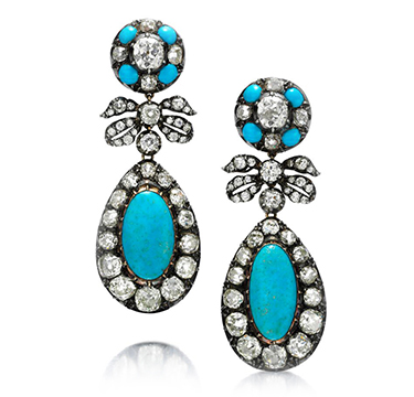 A Pair of Antique Turquoise and Old European-cut Diamond Ear Pendants, circa 1850
