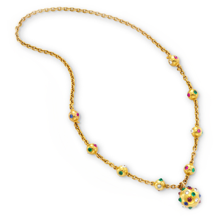 A Retro Multi-gem and Diamond Pendant Necklace, circa 1940