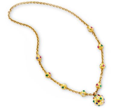 A Retro Multi-gem and Diamond Pendant Necklace, circa 1940