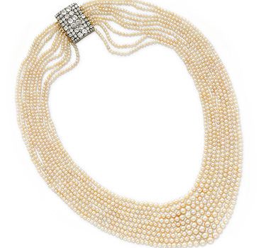 A Nine Strand Natural Pearl Sautoir, With A Old European-cut Diamond Buckle Clasp