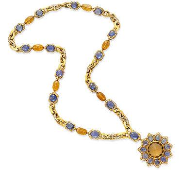 A Multi-gem And Diamond Pendant Sautoir Necklace, By Bulgari, Circa 1970