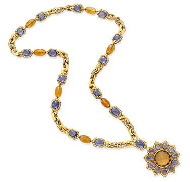 A Multi-gem and Diamond Pendant Sautoir Necklace, by Bulgari, circa 1970