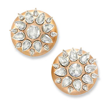 A Pair of Rose-cut Diamond and Rose Gold 'Lotus' Disk Ear Clips, by Bhagat