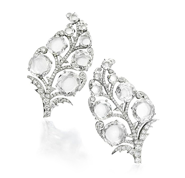 A Pair of Diamond and Platinum 'Paisley' Ear Clips, by Bhagat