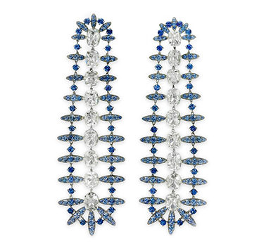 A Pair Of Diamond And Sapphire Ear Pendants, By SABBA
