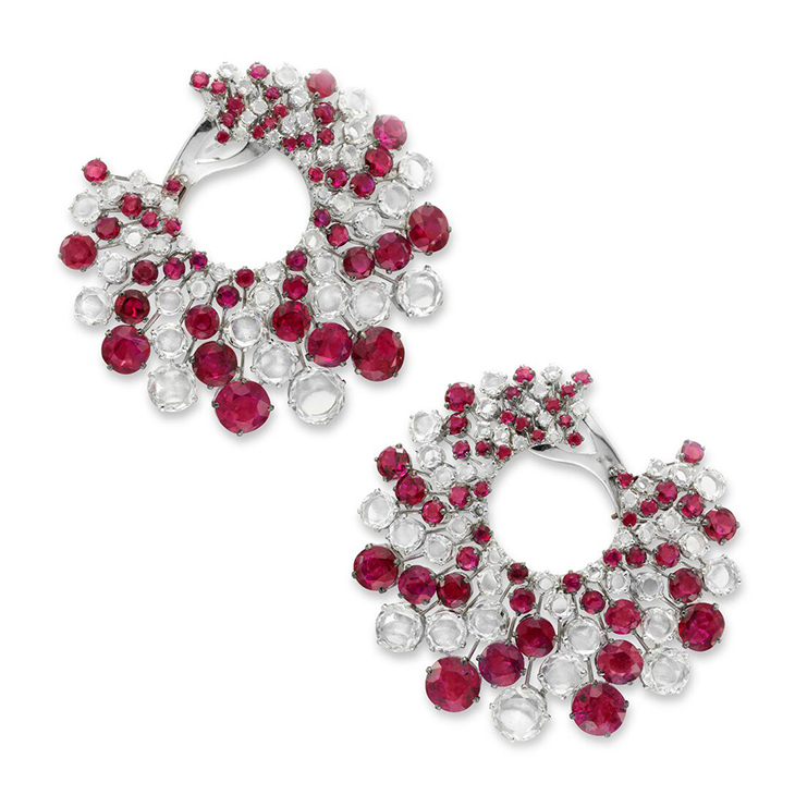 A Pair of Ruby and Diamond Ear Clips, by Bhagat