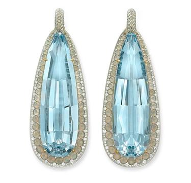 A Pair of Aquamarine, Agate and Diamond Ear Pendants, by SABBA