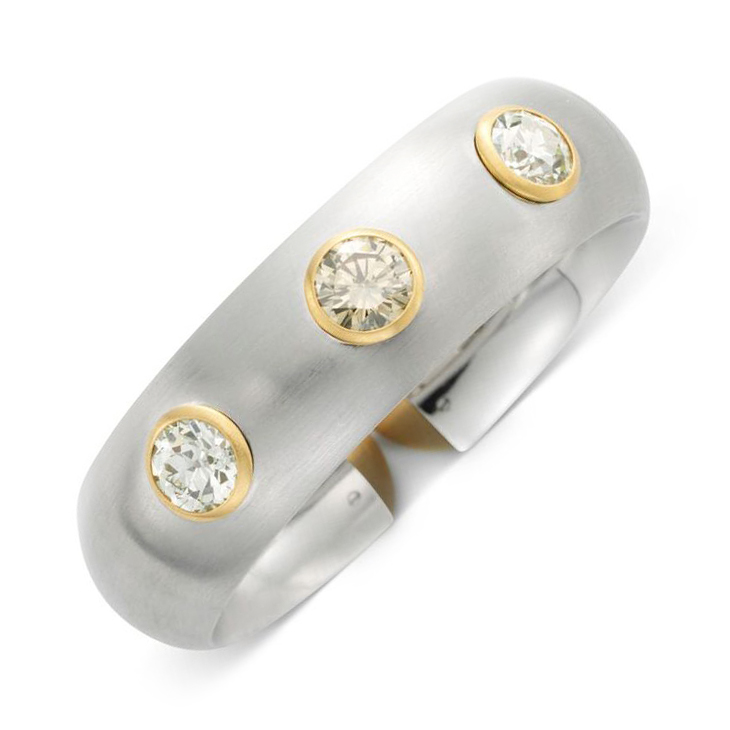 A Diamond, Gold and Brushed White Gold Cuff Bracelet, by Hemmerle