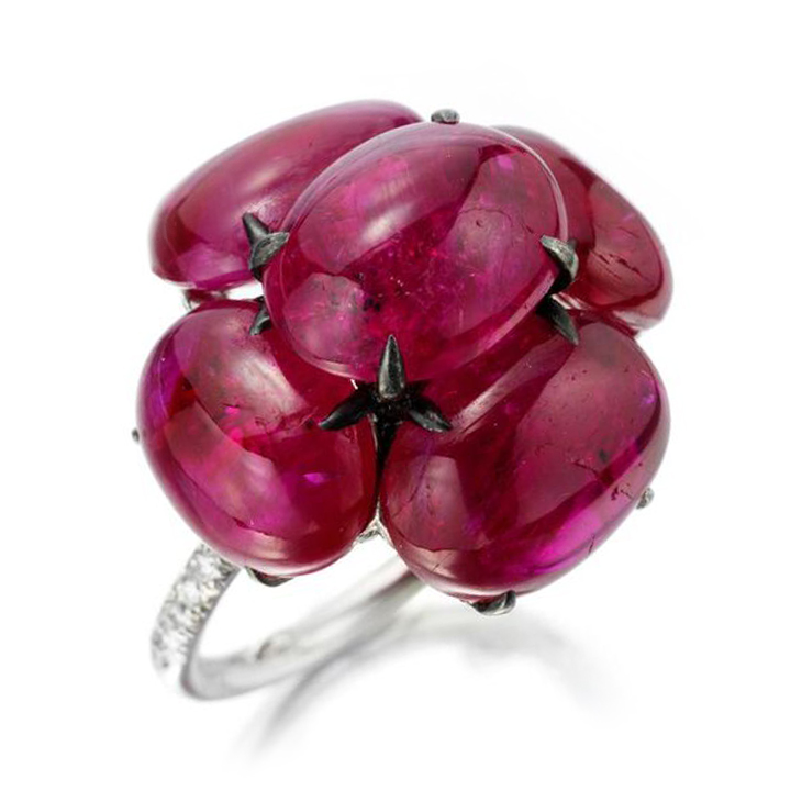 A Cabochon Ruby and Diamond Cluster Ring, by Bhagat