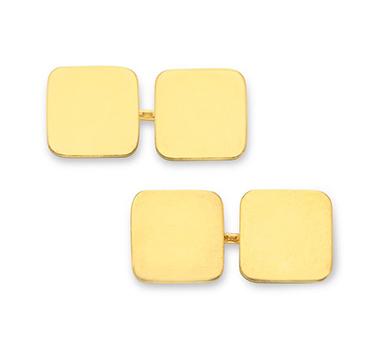 A Pair of Gold Plaque Cufflinks, by Cartier