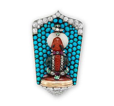 An Art Deco Multi-gem And Diamond 'Maharaja' Clip Pin, By Cartier, Circa 1925
