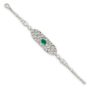 An Art Deco Cabochon Emerald and Diamond Strap Bracelet, by Cartier, circa 1920
