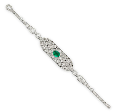 An Art Deco Cabochon Emerald and Diamond Strap Bracelet, by Cartier, circa 1920