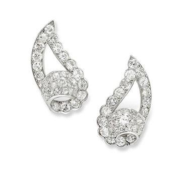 A Pair Of Art Deco Diamond Ear Clips, By Cartier, Circa 1930