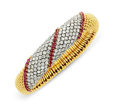 A Ruby and Diamond 'CousCous' Bracelet, by Van Cleef & Arpels, circa 1960