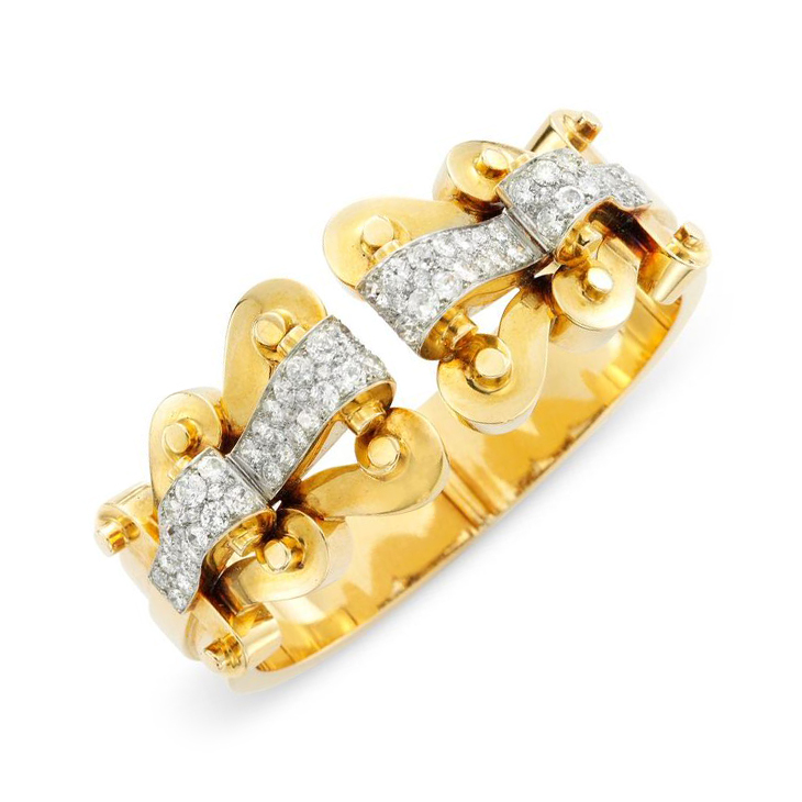 A Retro Gold and Diamond Cuff Bracelet, by Van Cleef & Arpels, circa 1940