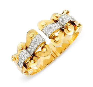 A Retro Gold And Diamond Cuff Bracelet, By Van Cleef & Arpels, Circa 1940