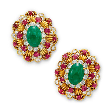 A Pair of Emerald, Ruby and Diamond Bombe Cluster Ear Clips, by Van Cleef & Arpels, circa 1970