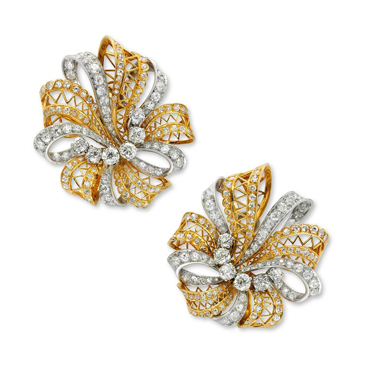 A Pair of Retro Gold and Diamond Ear Clips, by Van Cleef & Arpels, circa 1940