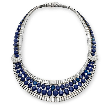 A Sapphire and Diamond 'Bib' Necklace, by Van Cleef & Arpels, circa 1950