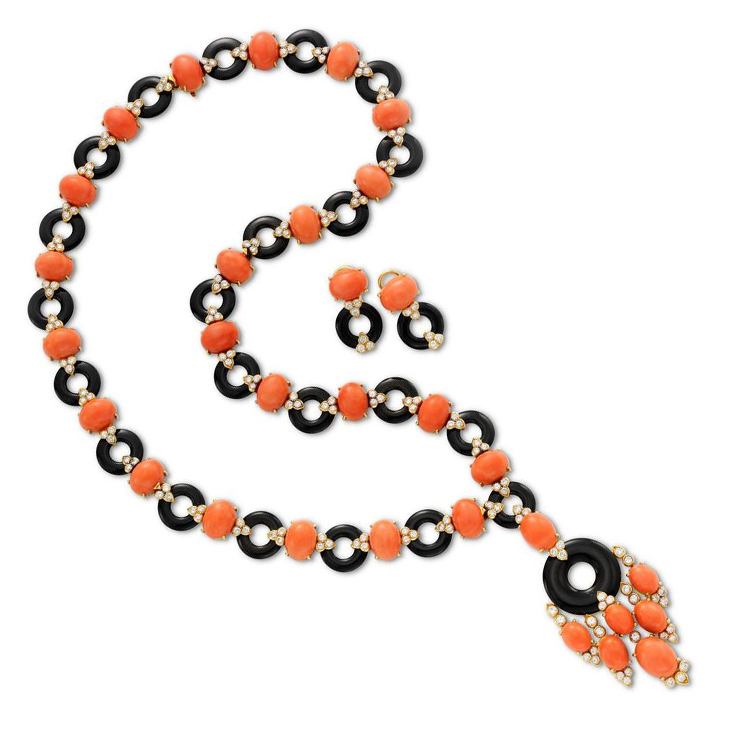 A Coral, Onyx and Diamond Sautoir Necklace, with earrings en suite, by Van Cleef & Arpels, circa 1970