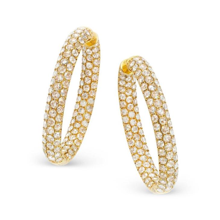 A Pair of Rose-cut Diamond and Gold Hoop Earrings