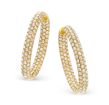 A Pair of Rose-cut Diamond and Gold Hoop Earrings