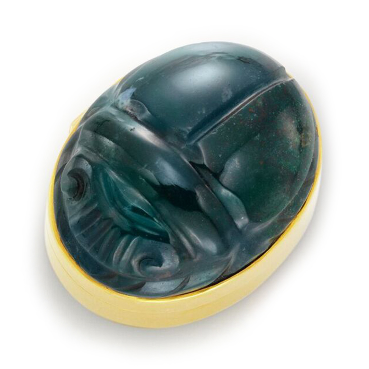 Carved Bloodstone Scarab and Gold Pillbox, by Cartier, circa 1930