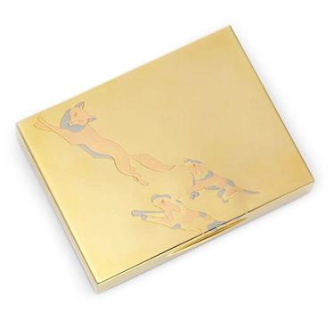A Tri-colored Gold Cigarette Box, by Cartier, circa 1935