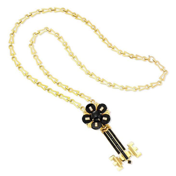 """A Carved Onyx and Diamond """"Key to my Heart"""" Pendant Necklace, by Cartier, circa 1970"""
